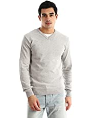 Andora Ribbed V-neck & Cuffs Knitted Sweater - Heather Light