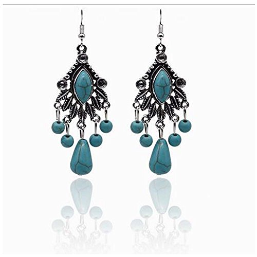 [GERGER BO Women's Bohemian Exaggerated Retro Turquoise Water Droplets Feather Earrings] (Soa Baby Costume)