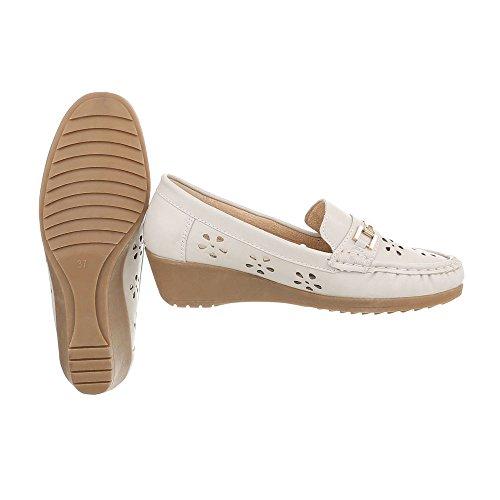 Ital-Design Women's Loafer Flats Wedge Heel Moccasins at Beige D1608-5 mARC7McH