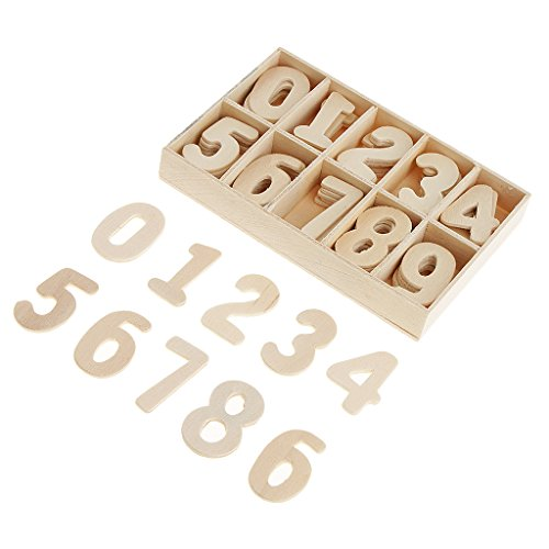 Baoblaze 60 Piece Set Wooden Numbers - Wooden Craft Numbers with Storage Tray - Unpainted Wood Arabic Numbers Kids Learning Toy, Scrapbooking Embellishment, Wedding Party Home Decorations