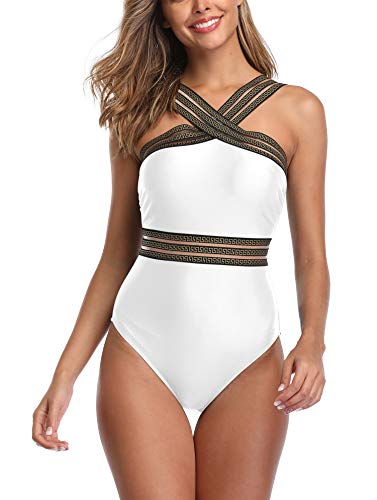 B2prity One Piece Swimsuits for Women Tummy Control Swimwear Crisscross Straps Bathing Suit Slimming Swimsuits