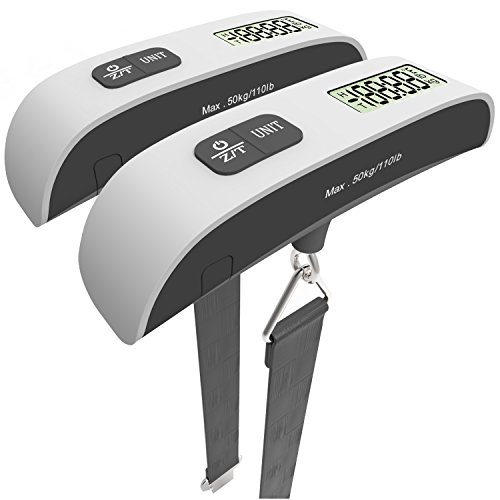 MagicPro Digital Hanging Luggage Scale, Rubber Paint, Temperature Sensor, 110 Pounds, Silver 2 Pack