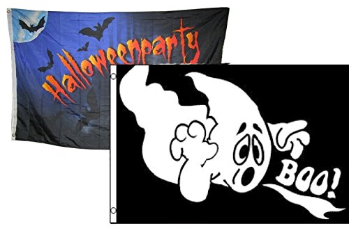 ALBATROS 3 ft x 5 ft Happy Halloween 2 Pack Flag Set Combo #19 Banner Grommets for Home and Parades, Official Party, All Weather Indoors Outdoors -