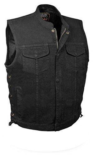 Men's Side Lace Denim Club Style Vest w/ Hidden Zipper (Black, M)