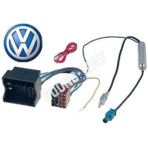 Adaptador de VW-Cable con conector ISO para radio de coche VW FOX BORA//////MULTIVAN BEETLE adaptador de antena amplificado fakra