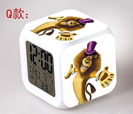 Zhuhuimin Pingüino de Madagascar LED 7 Color Flash Reloj