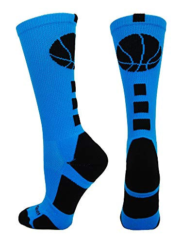 MadSportsStuff Basketball Logo Athletic Crew Socks, Large - Electric Blue/Black (Jordan 14 Black Toe Kids)