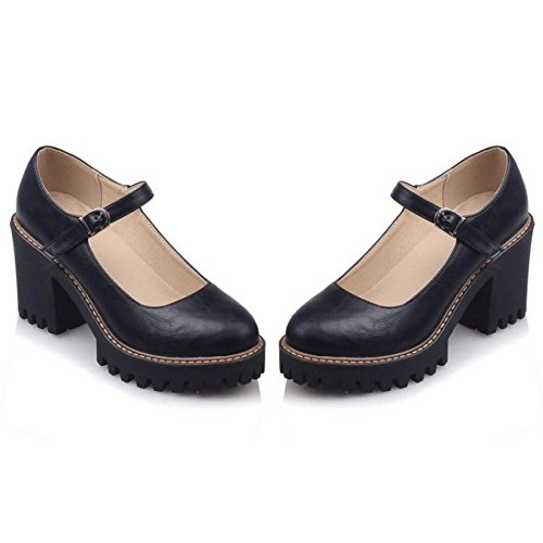 Court Women's Heel Chunky Black Shoes TAOFFEN wafqYzvvx