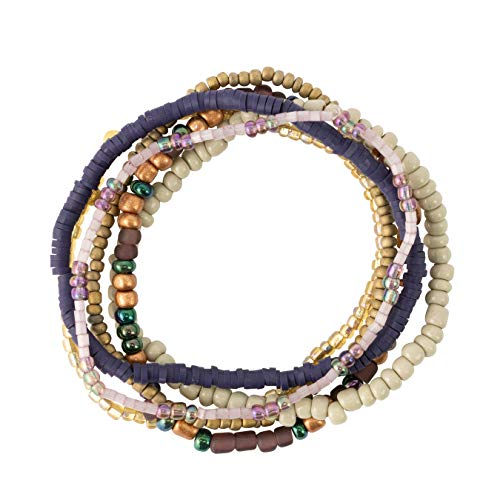 Bops Colorful, Multi-Layer Stretch Bracelet Set (6pc) for Women and Girls (Purple)
