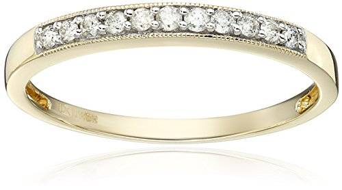 Jewelili 10kt Yellow Gold Diamond Anniversary Ring (1/6 cttw), Size 7 - New