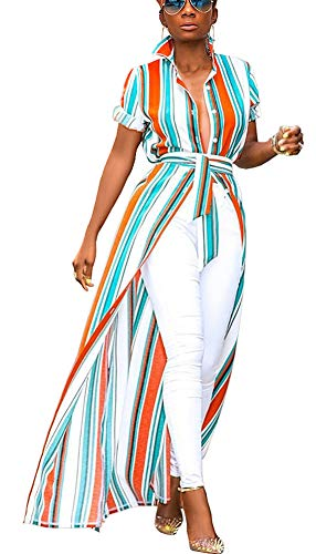 Womens Short Sleeve Stripe Print High Low Front Split Short Shirt Mini Dress Orange-2 S