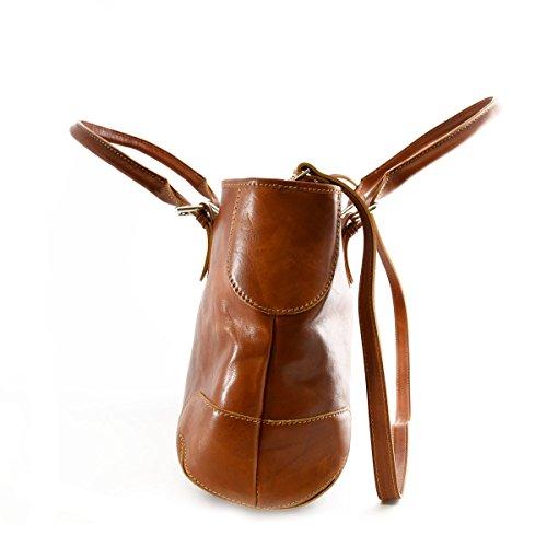 Borsa A Spalla Per Donna 2 Scomparti Interni Colore Cognac - Pelletteria Toscana Made In Italy - Borsa Donna
