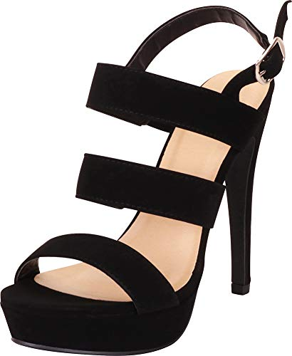 Cambridge Select Women's Open Toe Strappy Slingback Platform High Heel Sandal,8 B(M) US,Black NBPU