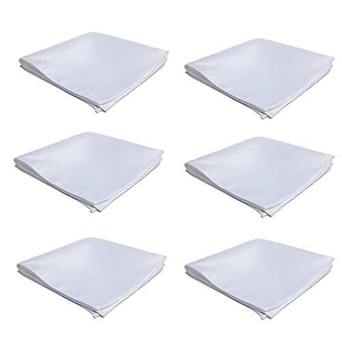 Tuxedo Pocket Squares - Mens Pocket Squares Handkerchief 6 PK Wedding Party Solid Color Handkerchiefs (White)