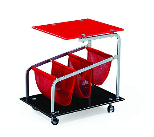 Rocket Castered Accent Storage Table with Red Glass Top and Base by Diamond Sofa- # ROCKETETRE With FREE Furniture Assembly Tools (Set Of Two) 10 Function Utility Knife & Wrench Tool