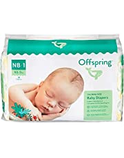 Offspring Disposable Diapers Size Newborn, Size 1 (0-9lbs.) - Eco-Friendly - Premium Ultra Soft - Double Leak Guard Technology - Made with Sustainable Materials - 35 Count
