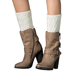 Leg Warmers Socks, Boomboom Winter Warm Women Knit Leg Warmers Crochet Leggings Slouch Boot Socks (White)