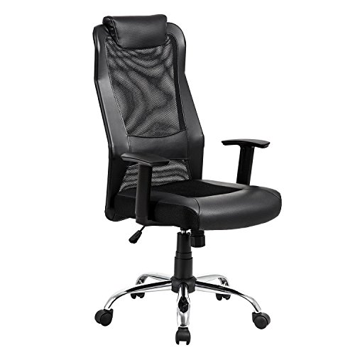KADIRYA High Back Mesh Office Chair - Ergonomic Computer Desk Task Executive Chair with Padded Leather Headrest and Seat,Adjustable Armrests, Black (Black)