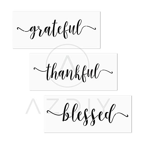 3 PCS Grateful Thankful Blessed Stencils AZDIY Reusable Stencil Set for Painting on Wood Laser Cut Painting Stencil for Home Décor & DIY Projects - Quote Word Stencil Set