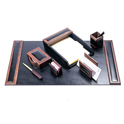- Dacasso Walnut and Leather Desk Set, 7-Piece