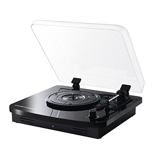 Musitrend 3-Speed Turntable with Built-in Stereo Speakers, Record Player Support Vinyl-To-MP3 Recording, Bluetooth transmitter, Pitch Control and RCA Output, Black by MUSITREND