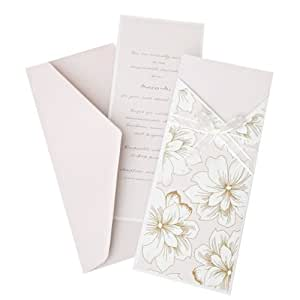 Pink & Gold Floral Pocket Invitation Kit – 30 Ct