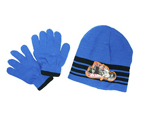 Hat and Glove Sets-boys (Hotwheel-Blue/Black)