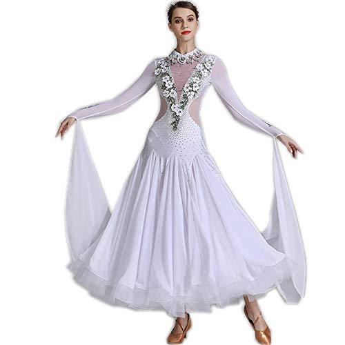 garuda 上品レディース社交ダンス衣装 競技素敵ドレス 花柄飾り ホワイト セミオーダー可 B07SWWYQN7 ホワイト Large