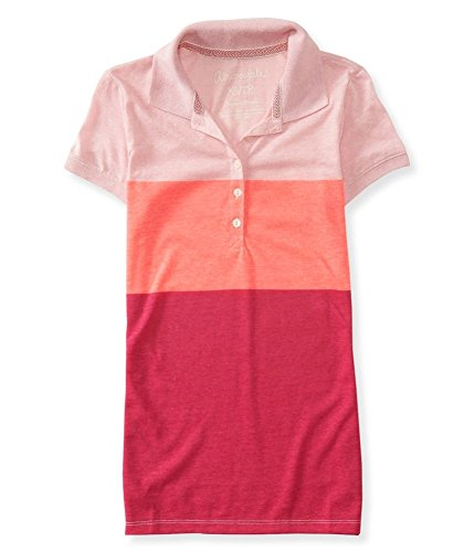 Aeropostale Womens Sheer Colorblock Polo Shirt Pink S - Juniors