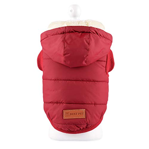 Topdo 1pc Dog Clothes Cotton Pet Clothing Two Legs Vest Coat Puppy Autumn Winter Pet Solid Color Warm Clothes Outdoor Coat Outwear Size S (Red)