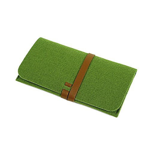 (Suitable for Retro soft felt wallet mobile phone bag wool felt bag leather for iPhone 6/6s Plus 5.5 inch (green))