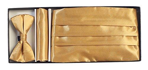 Gioberti Boys' Satin Formal Bow Tie, Pocket Square, and Cummerbund Set, Gold (Gold Cummerbund)
