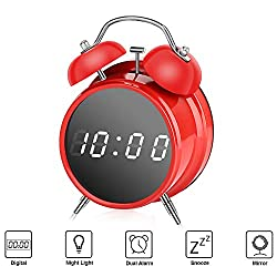 SkyNature Kids Alarm Clock, Analog Dual Alarm with Snooze, Night Light and Mirror, Digital Alarm Clock for Home, Girls & Boys Bedroom,Office Decor - Red