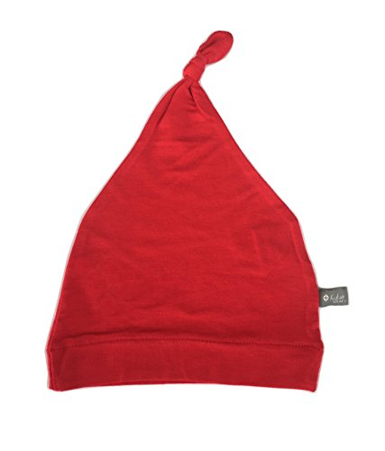 KYTE BABY Organic Bamboo Rayon Baby Beanie Hats - Super Soft Knotted Caps Available in Pattern and Solid Colors (3-6 Months, Crimson)