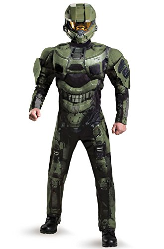 [Mememall Fashion Halo Master Chief Deluxe Muscle Men Full Helmet Adult Costume] (Full Halo Costumes)