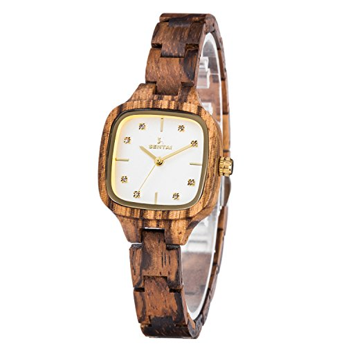 Wooden Watch, Women's Crystal Decoration Squared Dial Handmade Wood Wrist Watch (Zebra)
