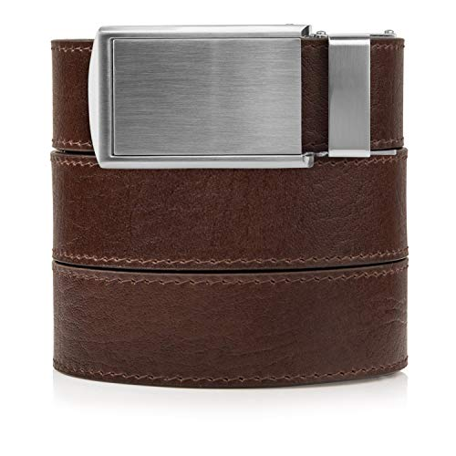 Top Grain Brown Leather Belt with Silver Buckle (Brown Leather Belt Silver Buckle)