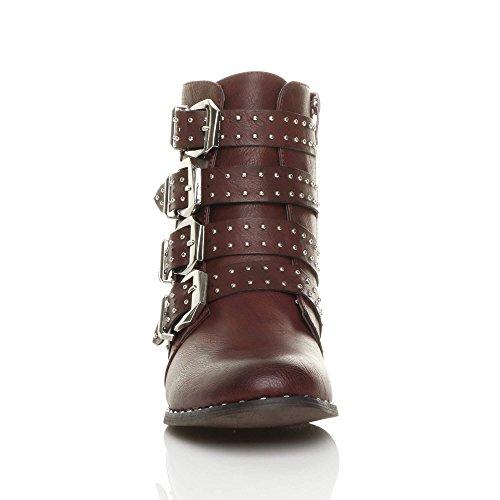 Ajvani Womens Ladies Block Low Heel Studded Buckle Strap Western Biker Ankle Boots Size Burgundy Matte l9nxIoVyH