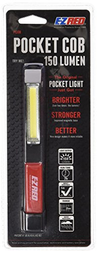 E-Z Red 150 Lumen COB LED Pocket Flashlight with Magnetic Base and Built in Pocket Clip.