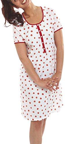 Graziella Nachthemd Katja 100cm lang Sleepshirt mit Knopfleiste 48/50 Nachtwäsche 100% Baumwolle Big Size