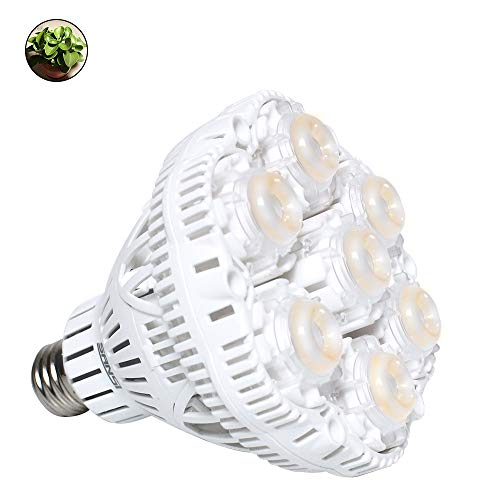 SANSI 40W Daylight LED Plant Light Bulb Full Spectrum Ceramic LED Grow Light Blub, E26 Plant Bulb Sunlight White Grow Light for Indoor Garden Farming Greenhouse Grow Walls, UV&IR, 90-132V