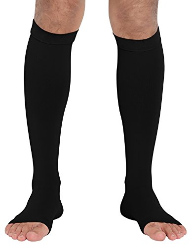 ChinFun Open Toe Toeless Compression Pressure Sleeve Socks 20-30mmHG Leg Support Graduated Shin Splints Circulation Recovery Varicose Veins Pain Relief Sports Gear Men Women Black Color Size M ()