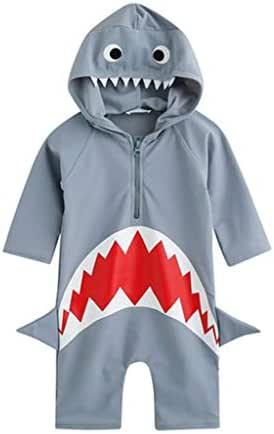 Baby Girls Boys One Piece Swimsuit Beach Bathing Suit Little Kids/Toddler Swimwear Cartoon Shark Hooded Rashguard Romper