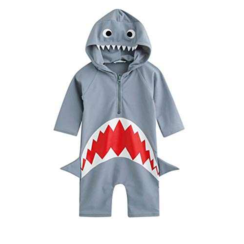 Kehen- Kid Toddler Boy Beach One-Piece Swimsuit Shark Print Hoodie with Zip Protective Sunsuit Gray 2-3T