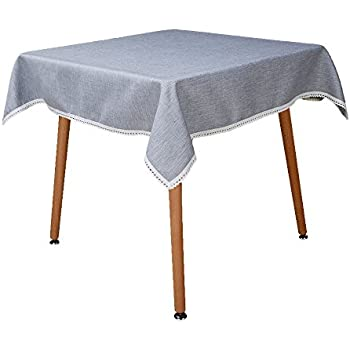 MANVEN Stain Resistant Tablecloths For Square Table 36 X 36 Inch Light  Grey, Fabric Tablecloth