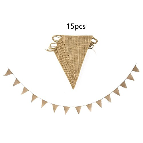 DIY Burlap Bunting Banner kit, DIY Wedding Banner, Pre-strung 15 Flags with Jute Cording (Triangle (Brown Streamer)