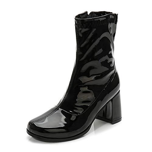 Black Gogo Boots (LIURUIJIA Women's Go Go Boots Mid Calf Block Heel Zipper Boot)
