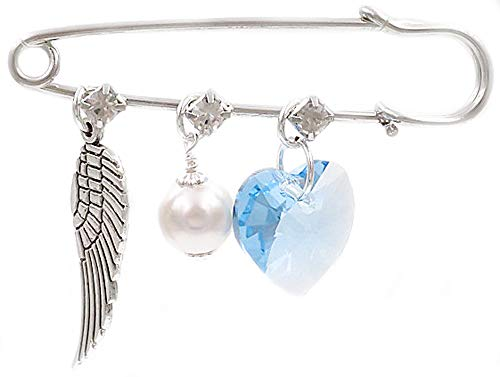Better Than Buttons Light Blue Heart, Angel Wing and Simulated White Pearl Bridal Pin