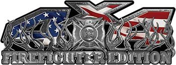 4x4 Firefighter Edition Truck Quad or SUV Decal Kit with Flames and Fire Rescue Maltese Cross with American Flag ()