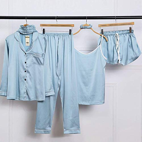 Pijama Casuales Larga Elastische Conjunto Mujeres Taille Tirantes Solapa Camisola Azul Unicolor Clásico Mujer Manga Sin Tops Pijamas Pants De qt4wfcE